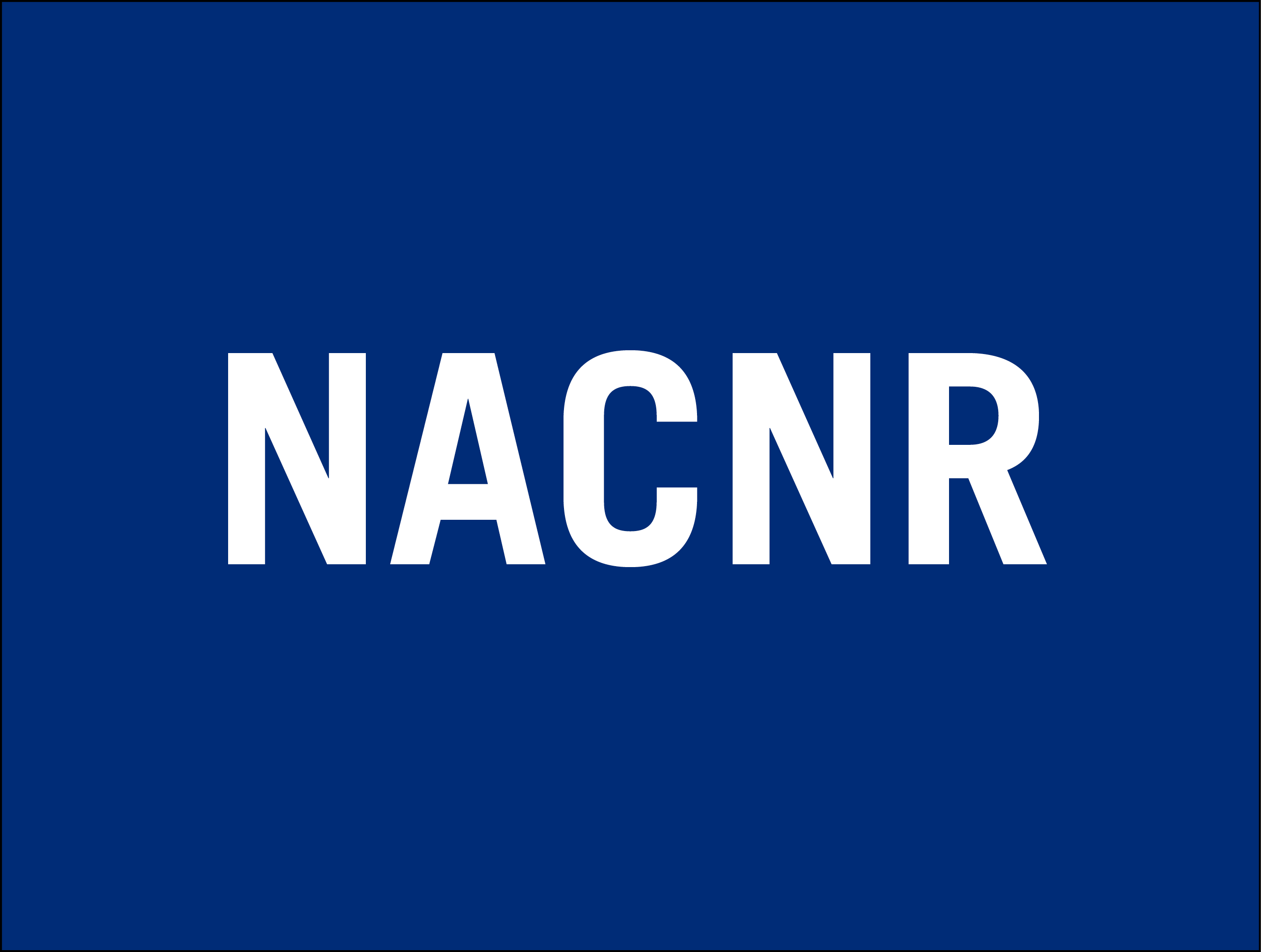 "White letters ""NACNR"" on a blue background"