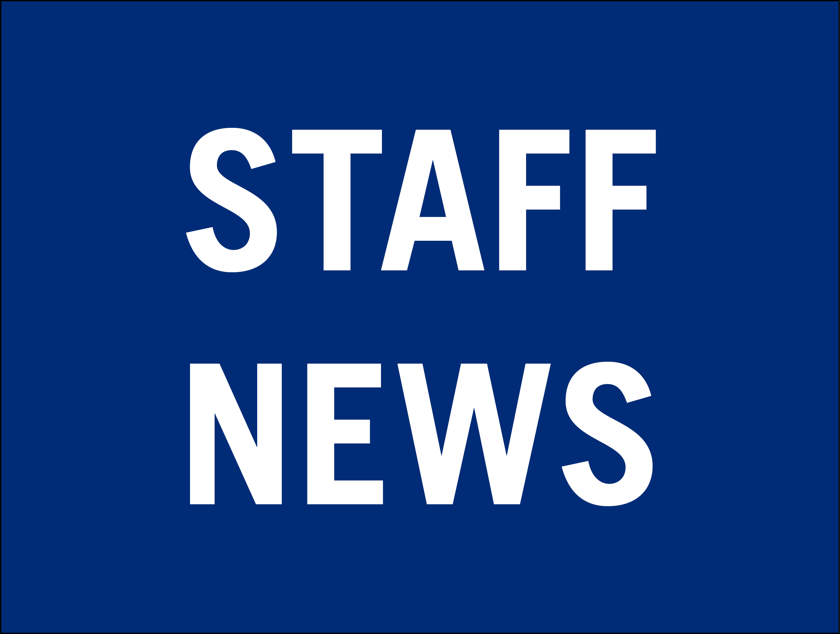 """staff news"" in white letters on a blue background"