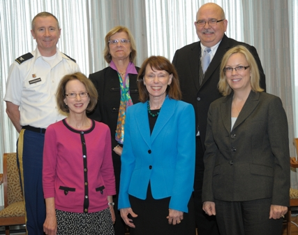 NINR Director Dr. Patricia A. Grady (front row, second from l) welcomes new council members (front row, from l) Dr. Anne Rosenfeld, Dr. Julie Anderson, (back row, from l) Dr. Bruce Schoneboom, Dr. Susan Gennaro, and Dr. William Holzemer.  Photographer: Bill Branson.