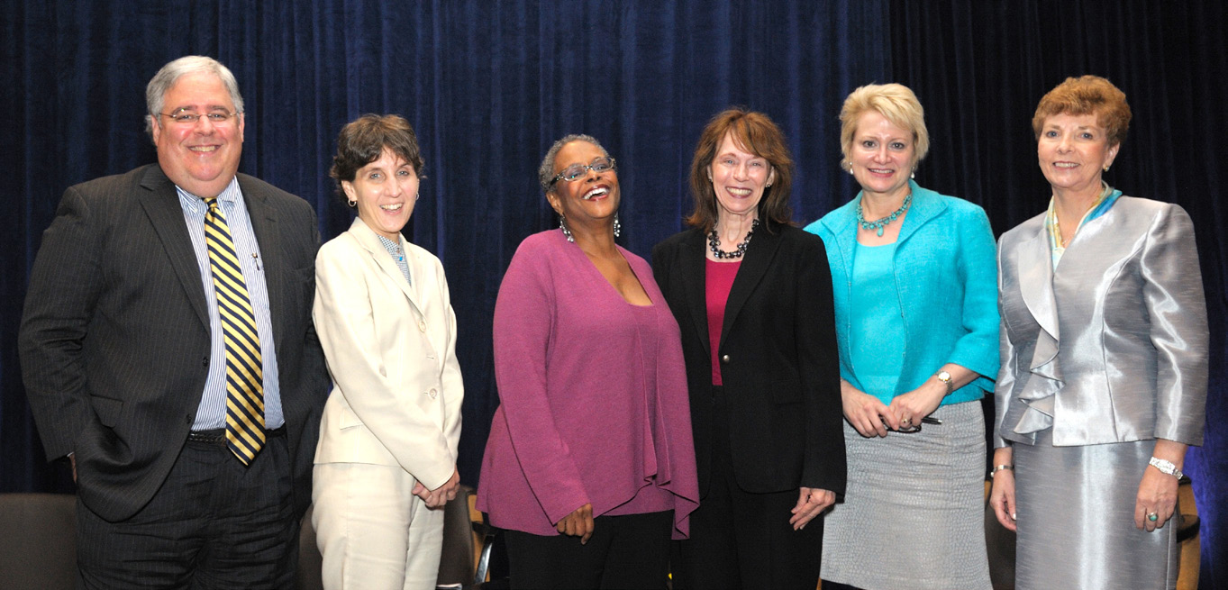 NINR director Dr. Patricia Grady (fourth from left) with panelists (from left to right) Dr. Joseph Fins, Dr. Nancy Berlinger, Dr. Karla Holloway, Susan Dentzer and Dr. Marie Hilliard