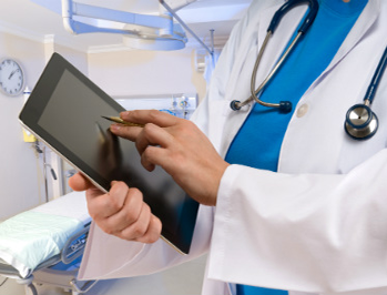 Doctor Hands with tablet
