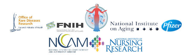Office of Rare Diseases Research logo; Friends of the NIH logo; NIH Office of Research on Women's Health logo; National Institute on Aging logo; Pfizer logo; National Center for Complementary and Alternative Medicine logo; NINR logo