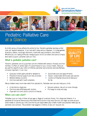 Pediatric Palliative Care Fact Sheet cover