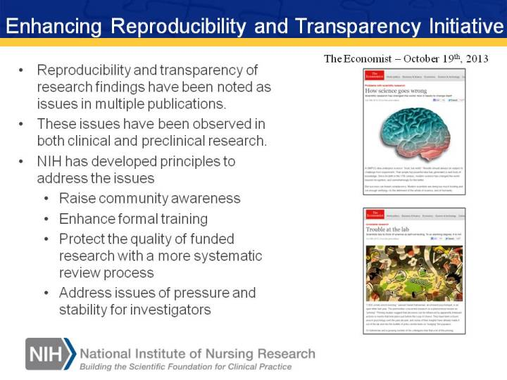 Enhancing Reproducibility and Transparency Initiative