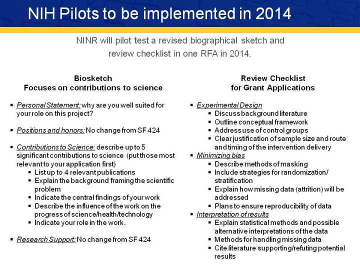 NINR will pilot test a revised biographical sketch and  review checklist in one RFA in 2014.